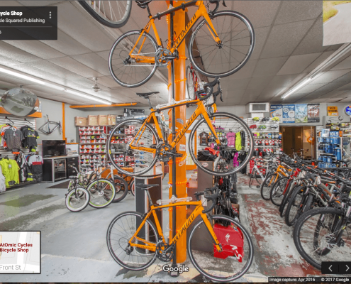 Google Business View of Atomic Cycles Bicycle Shop in New Bern, NC.
