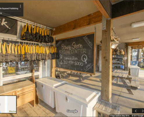 Google Business View showing the check in desk at a boating camp in Oriental, NC.