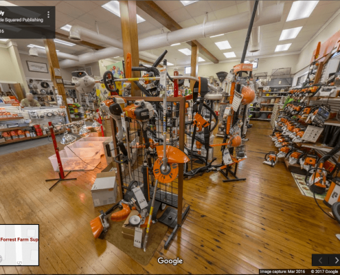 Google Business View showing chainsaws inside farm supply store in Bayboro, NC.