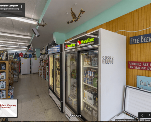 Google Business View of showing drink coolers inside grocery store in Oriental, NC.