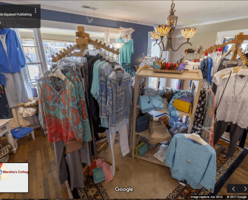 Google Business View showing ladies clothing inside store in Oriental, NC.