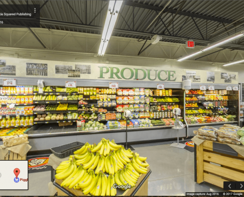 Google Business View showing the produce section inside grocery store in Oriental, NC.